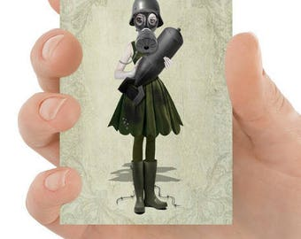 Steampunk ACEO Card - Gas Mask Girl - Soldier Girl - Steampunk Art - Lowbrow - Hope