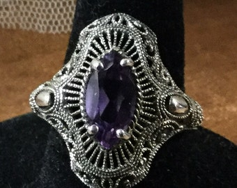 Stunning Ornate Amethyst and Filagree Sterling Silver Ring Size 8 High Setting Signed 925 CNA January Birthstone