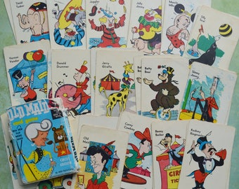 Vintage 1959 Old Maid Circus Edition Playing Card Game Full Deck with Flip Movie Ed-U-Cards