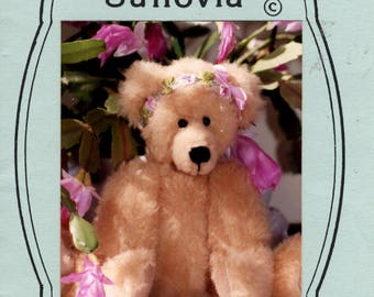 Vintage Stuffed Bear Pattern - Sanovia 11 Inch Teddy Bear -  Bear Doll Making Pattern - Jointed Bear Pattern - Zucker Designs