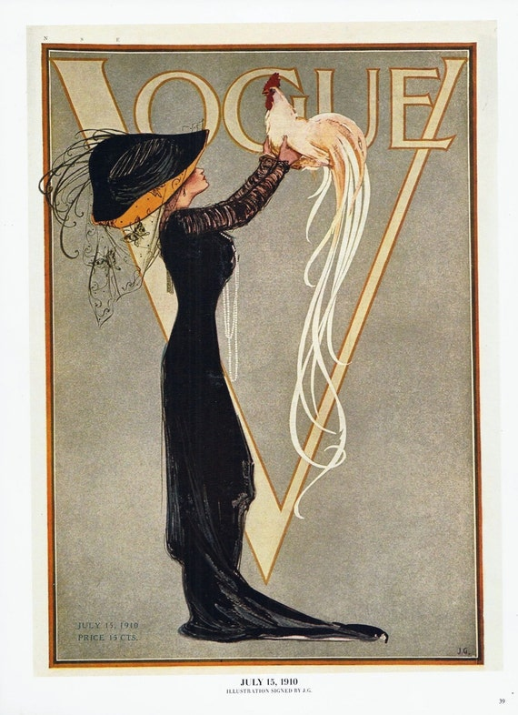 Vogue magazine reproduction cover wall art illustration chic - Magazine wall decor ...