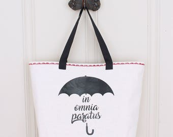 In Omnia Paratus Tote - Gilmore Girls Quote - Lined Tote Bag with Pocket - Made to Order