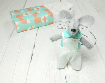Valentines gifts for kids small felt animals mice hand made doll tiny stuffed mouse matchbox gift daughter kids gift  mint orange