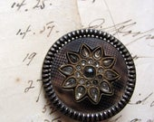Antique button - large Victorian ivoroid celluloid and tin with glass gem details - 31mm