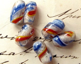 vintage striped glass beads - 6 rare clear barrels with orange and blue stripes - circa 1950s