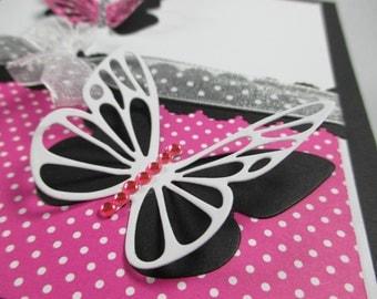 Butterfly birthday cards, pink, butterflies, butterfly cards, feminine birthday, birthday for her, girls birthday, handmade birthday cards
