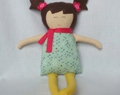 Rag doll, soft doll, handmade doll, baby doll, cloth doll, doll, toys, gift for a girl, brown hair, unique, handmade, christmas gift