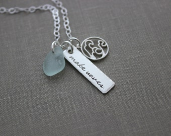 make waves necklace - Personalized Choice of Color - Sterling Silver wave charm - Genuine SeaGlass Hand Stamped rectangle bar Beach jewelry