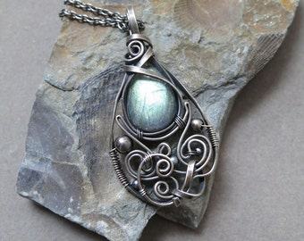 Labradorite and Sterling Silver Tiny Drop