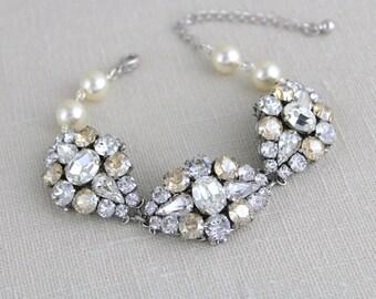 Crystal Bridal Bracelet, Bridal jewelry, Wedding bracelet, Pearl bracelet, Rhinestone bracelet, Bridesmaid bracelet, Swarovski crystal