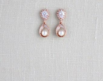 Crystal Rose Gold earrings, Rose Gold Bridal earrings, Bridal jewelry, Teardop earrings, Pearl earrings, Bridesmaid earrings, CZ earrings