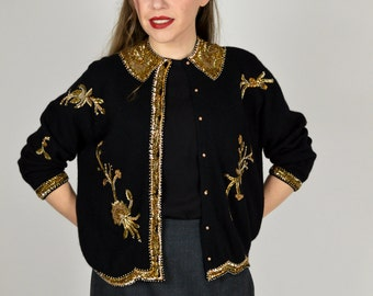Black Beaded Cardigan, Black Cardigan Sweater, Vintage Cardigan, Gold Beads, Rockabilly Sweater, Pin Up Sweater, 1950's Cardigan Sweater