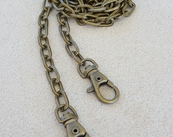 "Elongated Box Chain - ANTIQUE BRASS Chain Strap - 5/16"" (8mm) Wide - Handle to Crossbody Lengths"