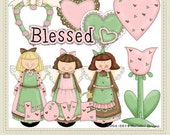 Blessed Valentine's Day Heart Angels Clip Art Graphics by Alice Smith