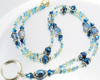 Blue, Aqua, Topaz and Gold Crystal Beaded Lanyard, ID Badge Holder, ID Necklace, Badge Clip Necklace