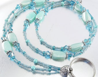 Shades of Turquoise and Blue Crystal Glass Beaded ID Lanyard, Badge Holder, Eyeglass Leash