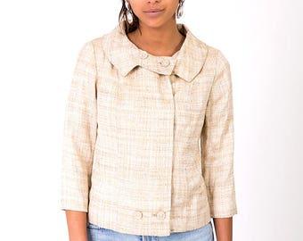 The Vintage 1960s Beige Chanel-Style Sheath Dress Jacket