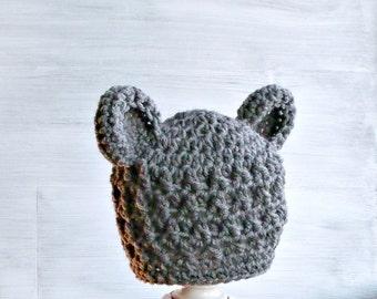 Crochet Baby Bear Hat, Newborn Bear Hat, Gray Baby Boy Hat, Newborn Photo Prop, Teddy Bear Baby Shower Gift