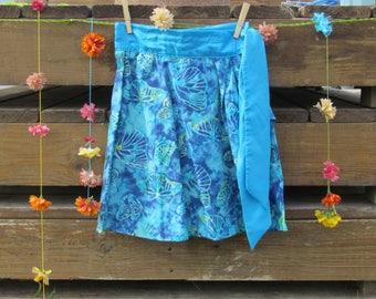 Blue Skirt, Batik Skirt, Tropical Beach Skirt, Blue Wrap-around Skirt, Sizes 4 - 10*