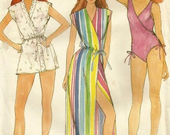 Vintage 70s Butterick 3902 UNCUT Misses Wrap Front Swimsuit and Coverup Sewing Pattern - Size 10 Bust 32.5