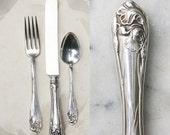 Vintage Silver Plate Flatware Place Setting / 1904 Fleur de Luce Pattern / Wedding Silverware