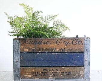 Rustic Vintage Milk Crate / Urban Farmhouse / 1950's Industrial Decor / Knudsen Dairy