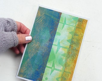 Painted Greeting Card-  Blue Green Native Abstract