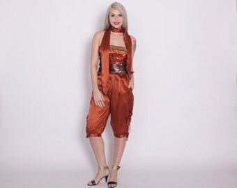 Vintage 70s Satin KNICKERS / 1970s Copper Rust Side Tie Cut-Out Cropped Knee Pants XS