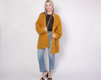Vintage 90s MOHAIR Sweater / 1990s Oversized Slouchy Mustard Gold Shaggy Knit Cardigan