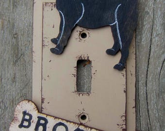 PUG Switch Plate Cover - Original Hand Painted Wood