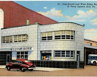 Pennsylvania Vintage Postcard - Erie Greyhound Bus Terminal (Unused)