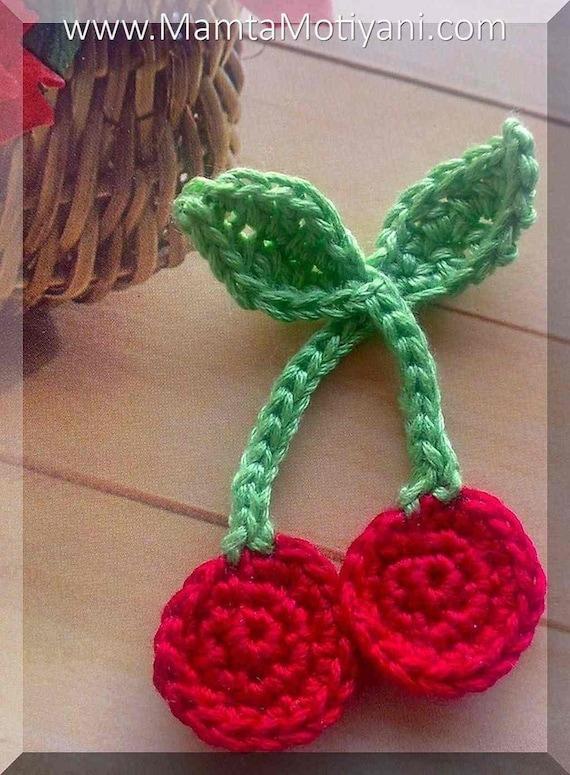 Crochet Xmas Flower Pattern : Crochet Cherries Applique Pattern, Easy Flower Crochet ...