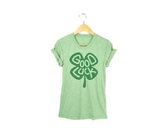 Good Luck Tee - Boyfriend Fit Crew Neck T-shirt with Rolled Cuffs in Heather Shamrock Green - Women's Size S-4XL