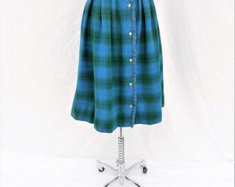 Vintage Teal green and blue plaid skirt- XXS waist