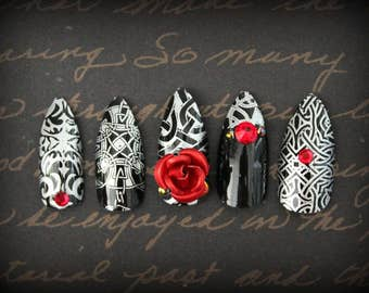Stiletto Dark Celtic Soul Press On Nails | Red Black Silver Nails | Gothic Fake False Nails | Celtic Style | Pointy Acrylic Nails