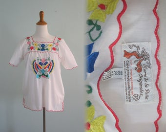 Gorgeous 70s Mexican Embroidered Blouse - Vintage Mario de la Pena Originales Embroidered Top - Vintage 1970s Top M L