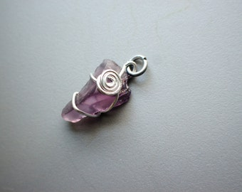 Dark Purple Violet Amethyst Sea Glass Seaglass Silver Tone Anodized Aluminum Wire Swirl Bold Pendant Necklace Charm, v5