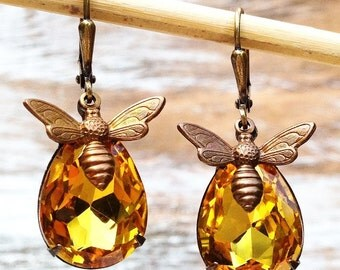 Bee Earrings, Amber Gold Earrings, Citrine Earrings, Bumblebee Jewelry, Honeybee Earrings, Rustic Jewelry, Autumn Wedding Bride, Boho