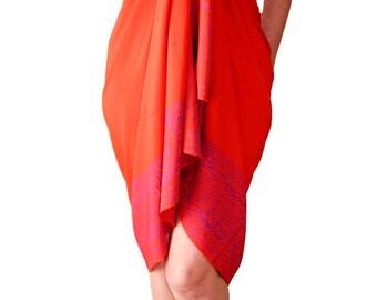 PLUS SIZE Clothing Sarong Dress or Wrap Skirt Beach Sarong Batik Pareo Orange & Purple Extra Long Sarong Swimsuit CoverUp Plus Size Swimwear