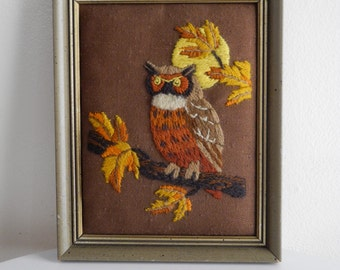 Embroidered 60s / 70s  hippie OWL wall art
