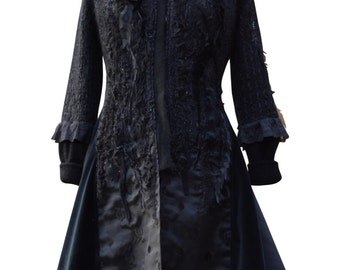Reserved for ADivineRomantic. Long black Sweater coat, Victorian  romantic OOAK, refashioned boho Fantasy Art to wear. Size M. Ready to ship