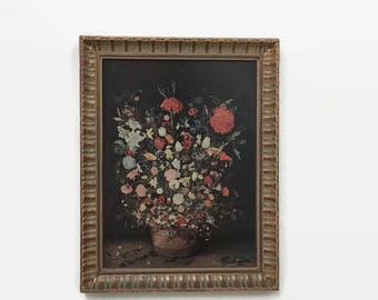 Floral Still Life Framed Print - Small - Dark Background