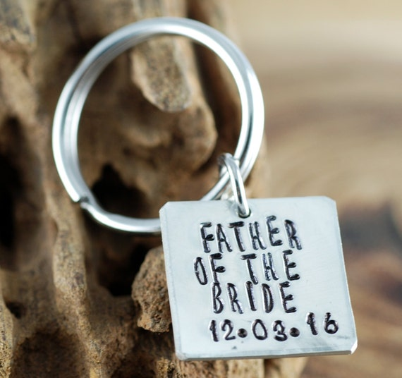 Father of the Bride and Groom Keychain | Hand Stamped Keychains | Wedding PartyGIft for Dad | Personalized Keychains | Wedding Gift