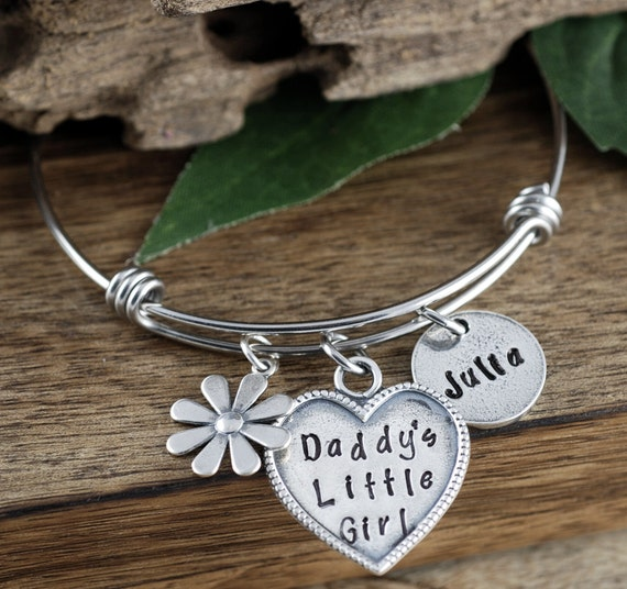 Daddy's Little Girl Bracelet, Gift for Daughter, Personalized Jewelry, Hand Stamped Bracelet, Flower Bangle Bracelet, Flower Charm