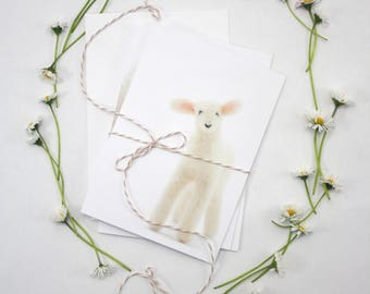 Set of four Lamb Greeting Cards, blank card set, Spring, Birthday or any occasion