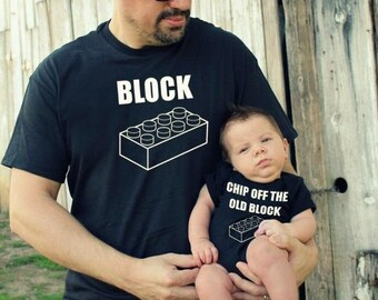 2 shirts funny CHIP off the old BLOCK ™ Father Son combo shirt child tshirt daddy new dad child boy baby vacation trip present FREE Shipping