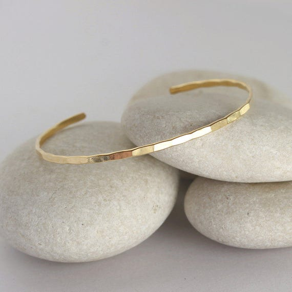 Thin Hammered Gold Cuff, Stacking Bangle from the Ophelia Collection in yellow gold filled, custom size
