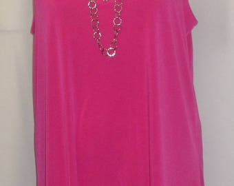 Coco and Juan, Lagenlook, Plus Size Tunic, Hot Pink, Traveler Knit Angled, Women's Tank Top, Size 1 Fits 1X,2X Bust  to 50 inches