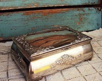 Vintage Silver Plate Jewelry Box Embossed Jewelry Casket French Farmhouse Decor Silver Keepsake Box Floral Flower Design Black Velvet lining
