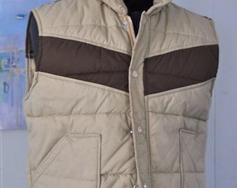 Vintage Vest Winter Ski Brown Beige Tan Thin Puffy Medium